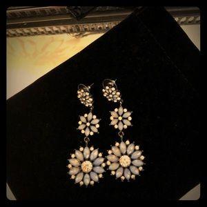 Captivating Blue Flower Crystal dangle earrings!